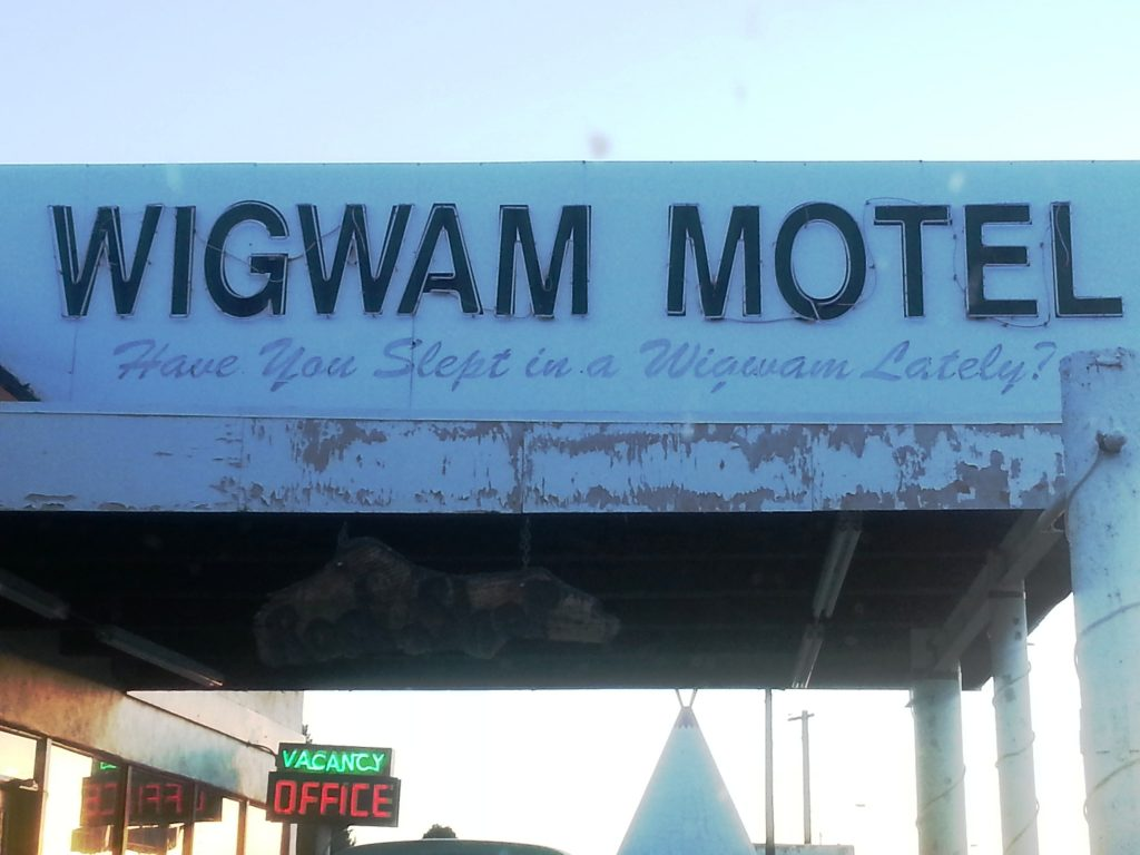 The welcome sign at Route 66 Wigwam Motel