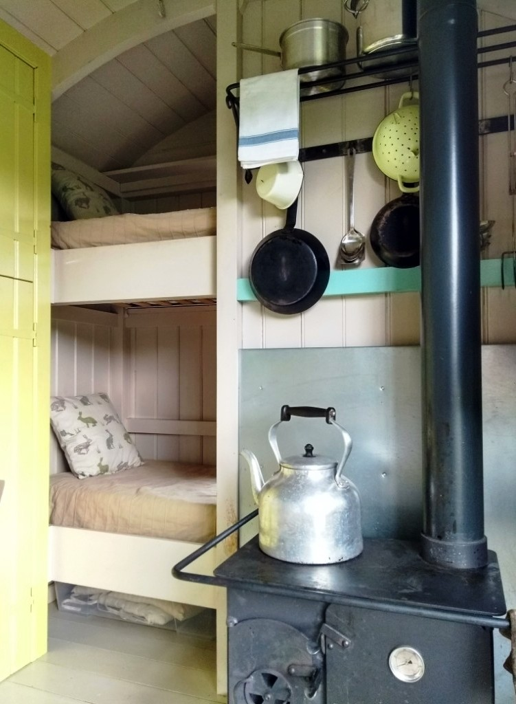 The stove in the Wriggly Tin Shepherd's Huts