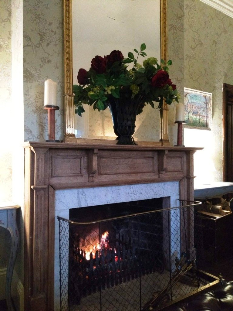 Open fire at Brooks Country House Hotel