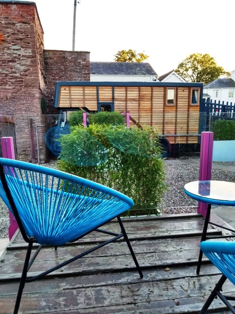 Seating area at the horsebox at Brooks Country House Hotel