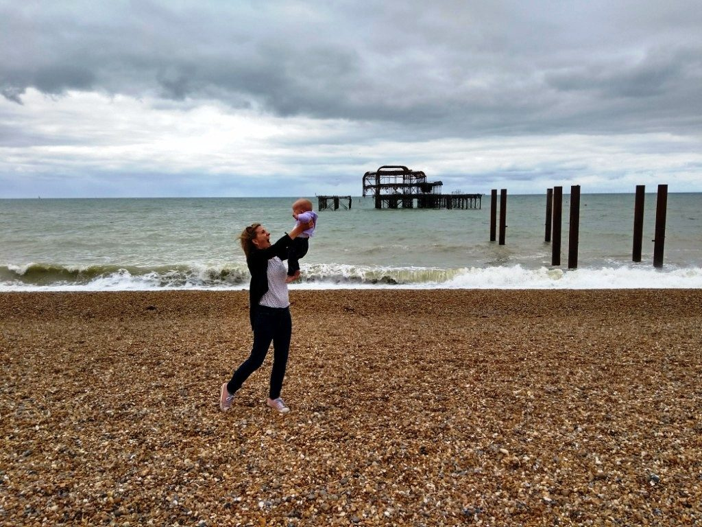 Maternity leave on Brighton beach