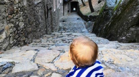 Travelling with a baby at Valère castle, Sion, Switzerland