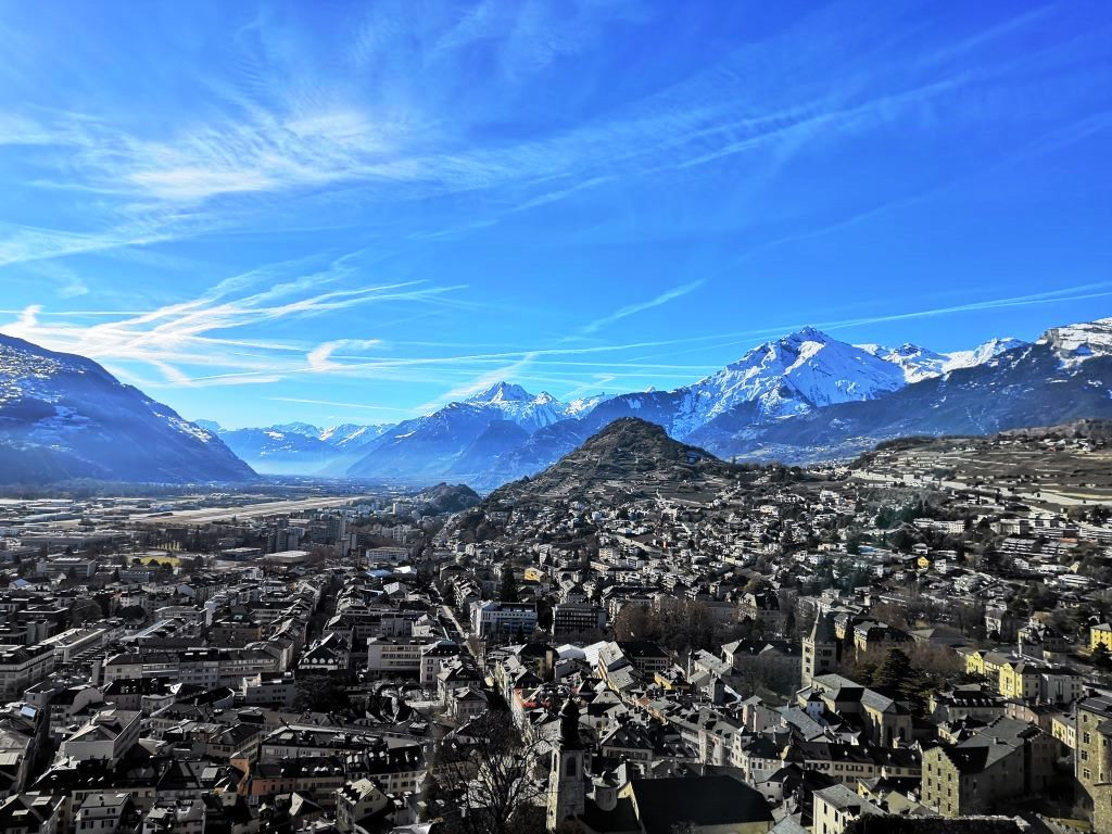 The view of Sion from Valeria Castle, Switzerland