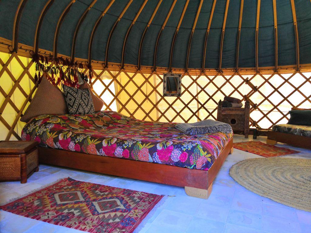 Inside a yurt at Yurts Tarifa