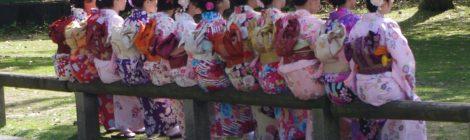Girls in kimonos in Japan