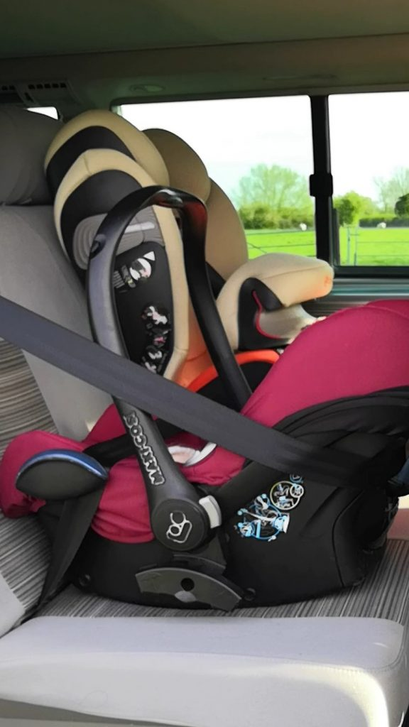 Carseats in a campervan