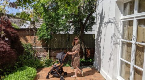 Pushing the Ickle Bubba Globe stroller