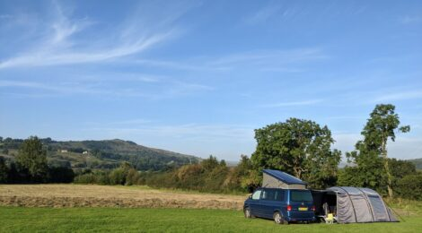 VW campervan in a field